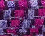 A new scarf yarn. It looks like a regular tape, but when knitted it gives you a frilly pattern. Excellent for scarfs and trims. Fiber Content 80% Acrylic, 5% Polyester, 15% Lurex, Maroon, Lilac, Brand ICE, Fuchsia, Yarn Thickness 6 SuperBulky  Bulky, Roving, fnt2-21165