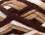 A beautiful new scarf yarn. One ball is enough to make a beautiful scarf. Knitting instructions are included! Fiber Content 100% Acrylic, Brand ICE, Brown Shades, Yarn Thickness 6 SuperBulky  Bulky, Roving, fnt2-21356