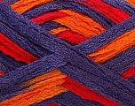 A beautiful new scarf yarn. One ball is enough to make a beautiful scarf. Knitting instructions are included! Fiber Content 100% Acrylic, Red, Purple, Orange, Brand ICE, Yarn Thickness 6 SuperBulky  Bulky, Roving, fnt2-21358