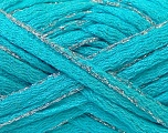 Fiber Content 90% Acrylic, 10% Lurex, Turquoise, Silver, Brand ICE, Yarn Thickness 6 SuperBulky  Bulky, Roving, fnt2-22097