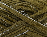 Fiber Content 90% Acrylic, 10% Lurex, Silver, Brand ICE, Dark Green, Yarn Thickness 6 SuperBulky  Bulky, Roving, fnt2-22098