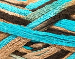 A beautiful new scarf yarn. One ball is enough to make a beautiful scarf. Knitting instructions are included! Fiber Content 100% Acrylic, Turquoise, Brand ICE, Camel, Brown, Yarn Thickness 6 SuperBulky  Bulky, Roving, fnt2-22161