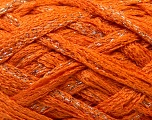 A beautiful new scarf yarn. One ball is enough to make a beautiful scarf. Knitting instructions are included! Fiber Content 95% Acrylic, 5% Lurex, Silver, Orange, Brand ICE, Yarn Thickness 6 SuperBulky  Bulky, Roving, fnt2-22887
