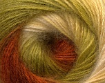 Fiber Content 55% Acrylic, 45% Angora, Brand ICE, Green, Cream, Brown, Yarn Thickness 2 Fine  Sport, Baby, fnt2-26940