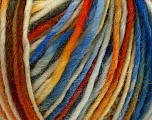 The yarn is hand-dyed. Dyeing process is totally hand made with natural plants and NO chemicals were used. For this reason, please be advised that some white parts may remain. Fiber Content 100% Wool, Orange, Brand ICE, Cream, Brown, Blue, Yarn Thickness 4 Medium  Worsted, Afghan, Aran, fnt2-36819