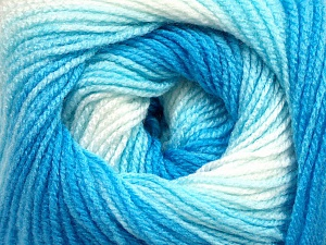 . Fiber Content 100% Baby Acrylic, White, Brand ICE, Blue Shades, Yarn Thickness 2 Fine  Sport, Baby, fnt2-49996