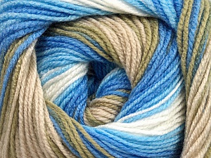 . Fiber Content 100% Baby Acrylic, White, Brand ICE, Blue Shades, Beige, Yarn Thickness 2 Fine  Sport, Baby, fnt2-49997