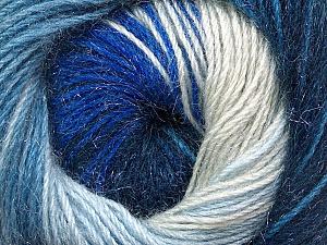 Fiber Content 57% Premium Acrylic, 3% Metallic Lurex, 20% Wool, 20% Mohair, Brand ICE, Blue Shades, Yarn Thickness 2 Fine  Sport, Baby, fnt2-50304