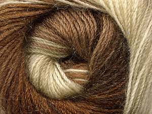Fiber Content 57% Premium Acrylic, 3% Metallic Lurex, 20% Wool, 20% Mohair, Brand ICE, Cream, Brown Shades, Yarn Thickness 2 Fine  Sport, Baby, fnt2-50317