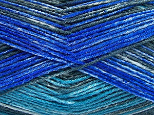 Fiber Content 75% Superwash Wool, 25% Polyamide, Turquoise, Brand ICE, Grey, Blue, fnt2-51852