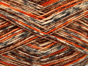 Fiber Content 75% Superwash Wool, 25% Polyamide, Orange, Brand ICE, Grey, Cream, Brown, Yarn Thickness 1 SuperFine  Sock, Fingering, Baby, fnt2-52155