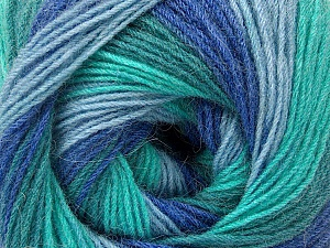 Fiber Content 60% Acrylic, 20% Wool, 20% Angora, Turquoise Shades, Brand ICE, Blue Shades, Yarn Thickness 2 Fine  Sport, Baby, fnt2-53565