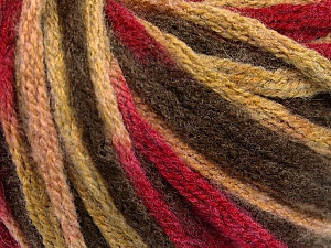 Fiber Content 50% Wool, 50% Acrylic, Brand ICE, Fuchsia, Brown Shades, Yarn Thickness 6 SuperBulky  Bulky, Roving, fnt2-54382