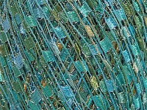 Trellis  Fiber Content 95% Polyester, 5% Lurex, White, Turquoise, Mint Green, Brand ICE, Yarn Thickness 5 Bulky  Chunky, Craft, Rug, fnt2-58062