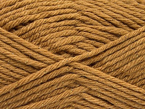Fiber Content 72% Premium Acrylic, 3% Metallic Lurex, 25% Wool, Light Brown, Brand ICE, Gold, Yarn Thickness 5 Bulky  Chunky, Craft, Rug, fnt2-58199