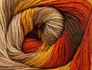 Fiber Content 70% Acrylic, 30% Merino Wool, Orange, Brand ICE, Gold, Camel, Brown Shades, Yarn Thickness 2 Fine  Sport, Baby, fnt2-59772