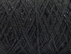 Fiber Content 90% Cotton, 10% Metallic Lurex, Brand ICE, Black, Yarn Thickness 4 Medium  Worsted, Afghan, Aran, fnt2-60132