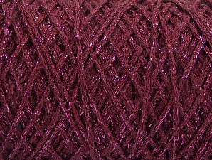 Fiber Content 90% Cotton, 10% Metallic Lurex, Brand ICE, Burgundy, Yarn Thickness 4 Medium  Worsted, Afghan, Aran, fnt2-60140