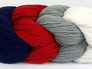 You will love the cotton & acrylic blend of Iceyarns Art color cotton. Art color cotton is a DK weight yarn in delightful 4 color combinations.<br>Each 100 gram hank is made up of 4 individual small hanks .Each small hank is 25 gr / 57 yds. You can simply separate small hanks.<br>Each color is separate. In this way,  you can start from the color you want and create your color combinations. Fiber Content 50% Acrylic, 50% Cotton, White, Red, Navy, Brand ICE, Grey, Yarn Thickness 3 Light  DK, Light, Worsted, fnt2-60268