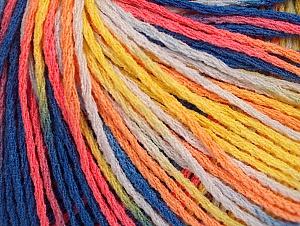 Fiber Content 100% Acrylic, Yellow, White, Salmon, Orange, Brand ICE, Blue Shades, Yarn Thickness 2 Fine  Sport, Baby, fnt2-60466