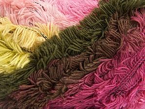 Fiber Content 95% Acrylic, 5% Polyester, Pink Shades, Light Yellow, Brand ICE, Dark Khaki, Yarn Thickness 6 SuperBulky  Bulky, Roving, fnt2-61124