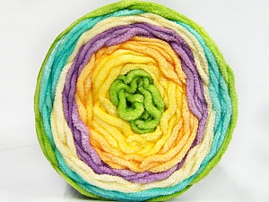 Fiber Content 100% Acrylic, Yellow Shades, Turquoise, Lilac, Brand ICE, Green, Yarn Thickness 4 Medium  Worsted, Afghan, Aran, fnt2-61173