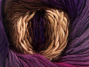 This is a self-striping yarn. Please see package photo for the color combination. Fiber Content 100% Premium Acrylic, Purple Shades, Brand ICE, Fuchsia, Brown Shades, fnt2-62901