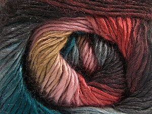 This is a self-striping yarn. Please see package photo for the color combination. Fiber Content 100% Premium Acrylic, Teal, Salmon, Pink, Brand ICE, Camel, Anthracite Black, fnt2-62904