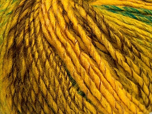 Fiber Content 70% Acrylic, 30% Wool, Yellow, Brand ICE, Green, Gold, Brown, fnt2-63451