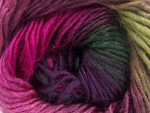 This is a self-striping yarn. Please see package photo for the color combination. Fiber Content 100% Premium Acrylic, Brand Ice Yarns, Green Shades, Fuchsia, fnt2-64631