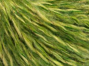 Fiber Content 40% Wool, 30% Acrylic, 20% Polyamide, 10% Metallic Lurex, Brand Ice Yarns, Green Shades, fnt2-65116