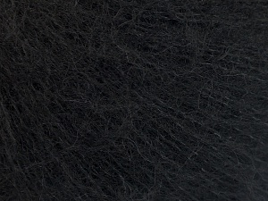 Knitted as 4 ply Fiber Content 40% Polyamide, 30% Acrylic, 30% Kid Mohair, Brand Ice Yarns, Black, fnt2-65149