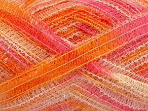Fiber Content 50% Wool, 37% Polyamide, 13% Metallic Lurex, Pink, Orange Shades, Brand Ice Yarns, fnt2-65306