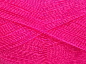 Very thin yarn. It is spinned as two threads. So you will knit as two threads. Yardage information is for only one strand. Fiber Content 100% Acrylic, Neon Pink, Brand Ice Yarns, fnt2-65379