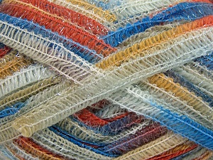 Vezelgehalte 50% Wol, 37% Polyamide, 13% Metallic lurex, Brand Ice Yarns, Gold, Cream, Copper, Blue, fnt2-65426
