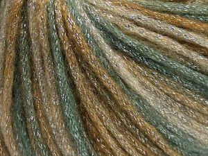 Fiber Content 40% Acrylic, 30% Metallic Lurex, 30% Wool, Khaki Shades, Brand Ice Yarns, Yarn Thickness 4 Medium  Worsted, Afghan, Aran, fnt2-65537