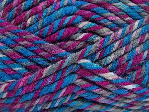 Fiber Content 75% Acrylic, 25% Superwash Wool, Brand Ice Yarns, Fuchsia, Blue Shades, fnt2-65762