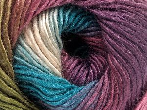 This is a self-striping yarn. Please see package photo for the color combination. Fiber Content 100% Premium Acrylic, Turquoise, Purple, Orchid, Brand Ice Yarns, Green, fnt2-65919