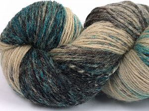 Please note that this is a hand-dyed yarn. Colors in different lots may vary because of the charateristics of the yarn. Also see the package photos for the colorway in full; as skein photos may not show all colors. Fiber Content 75% Super Wash Wool, 25% Polyamide, Turquoise, Brand Ice Yarns, Camel Shades, Black, fnt2-66003