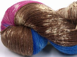 Please note that this is a hand-dyed yarn. Colors in different lots may vary because of the charateristics of the yarn. Also see the package photos for the colorway in full; as skein photos may not show all colors. Fiber Content 75% Super Wash Wool, 25% Polyamide, Pink, Brand Ice Yarns, Cream, Brown, Blue, fnt2-66008