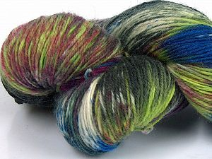 Please note that this is a hand-dyed yarn. Colors in different lots may vary because of the charateristics of the yarn. Also see the package photos for the colorway in full; as skein photos may not show all colors. Fiberinnehåll 75% Super Wash Ull, 25% Polyamid, Brand Ice Yarns, Green Shades, Burgundy, Blue, fnt2-66017
