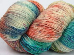 Please note that this is a hand-dyed yarn. Colors in different lots may vary because of the charateristics of the yarn. Also see the package photos for the colorway in full; as skein photos may not show all colors. Fiber Content 75% Super Wash Wool, 25% Polyamide, Turquoise, Purple, Orange, Brand Ice Yarns, Cream, fnt2-66018