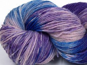 Please note that this is a hand-dyed yarn. Colors in different lots may vary because of the charateristics of the yarn. Also see the package photos for the colorway in full; as skein photos may not show all colors. Fiberinnehåll 75% Super Wash Ull, 25% Polyamid, Purple, Pink, Lilac, Brand Ice Yarns, Blue, fnt2-66021