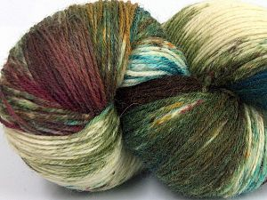 Please note that this is a hand-dyed yarn. Colors in different lots may vary because of the charateristics of the yarn. Also see the package photos for the colorway in full; as skein photos may not show all colors. Fiberinnehåll 75% Super Wash Ull, 25% Polyamid, Turquoise, Brand Ice Yarns, Green Shades, Cream, Brown Shades, fnt2-66023
