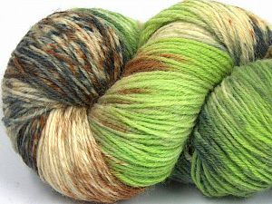 Please note that this is a hand-dyed yarn. Colors in different lots may vary because of the charateristics of the yarn. Also see the package photos for the colorway in full; as skein photos may not show all colors. Fiber Content 75% Super Wash Wool, 25% Polyamide, Brand Ice Yarns, Grey Shades, Green Shades, Brown, fnt2-66025