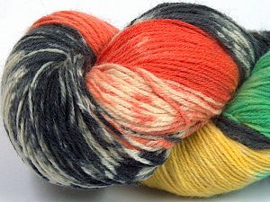 Please note that this is a hand-dyed yarn. Colors in different lots may vary because of the charateristics of the yarn. Also see the package photos for the colorway in full; as skein photos may not show all colors. Fiber Content 75% Super Wash Wool, 25% Polyamide, Yellow, Turquoise, Orange, Brand Ice Yarns, Dark Grey, Cream, fnt2-66026