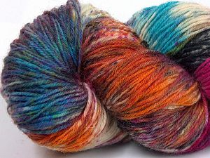 Please note that this is a hand-dyed yarn. Colors in different lots may vary because of the charateristics of the yarn. Also see the package photos for the colorway in full; as skein photos may not show all colors. Fiber Content 75% Super Wash Wool, 25% Polyamide, Turquoise, Orange, Brand Ice Yarns, Grey, Fuchsia, Cream, fnt2-66028