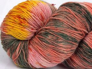 Please note that this is a hand-dyed yarn. Colors in different lots may vary because of the charateristics of the yarn. Also see the package photos for the colorway in full; as skein photos may not show all colors. Fiberinnehåll 75% Super Wash Ull, 25% Polyamid, Yellow, Salmon Shades, Brand Ice Yarns, Grey Shades, fnt2-66030