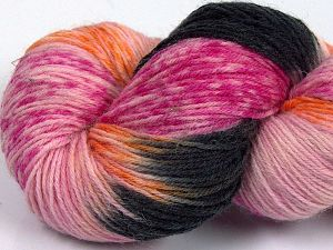 Please note that this is a hand-dyed yarn. Colors in different lots may vary because of the charateristics of the yarn. Also see the package photos for the colorway in full; as skein photos may not show all colors. Fiberinnehåll 75% Super Wash Ull, 25% Polyamid, Pink Shades, Orange, Brand Ice Yarns, Black, fnt2-66034