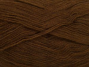 Very thin yarn. It is spinned as two threads. So you will knit as two threads. Yardage information is for only one strand. Fiber Content 100% Acrylic, Brand Ice Yarns, Brown, fnt2-66133